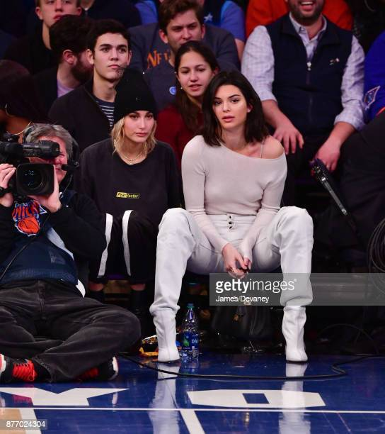 Hailey Baldwin and Kendall Jenner attend the Los Angeles Clippers Vs New York Knicks game at Madison Square Garden on November 20 2017 in New York...