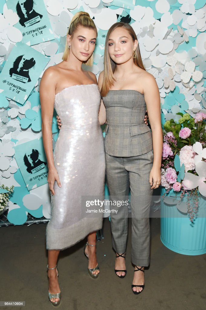 Hailey Baldwin (L) and Maddie Ziegler attend the Tiffany & Co. Paper Flowers event and Believe In Dreams campaign launch on May 3, 2018 in New York City.