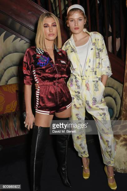 Hailey Baldwin and Molly Smith attend the LOVE and MIU MIU Women's Tales Party at Loulou's on February 19 2018 in London England
