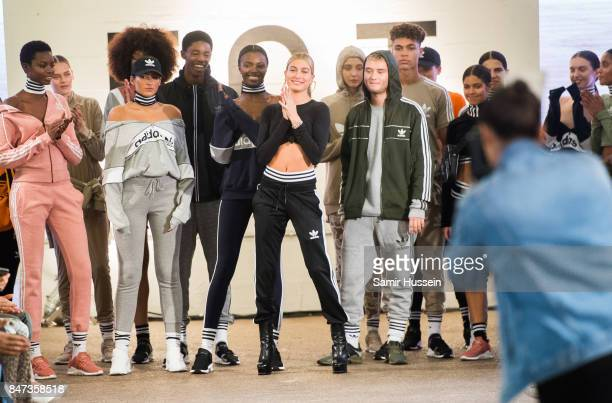 Hailey Baldwin and Rafferty Law attend Streets of EQT a fashion show celebrating street style at The Old Truman Brewery on September 15 2017 in...