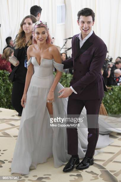 Hailey Baldwin and Shawn Mendes attends the Heavenly Bodies Fashion The Catholic Imagination Costume Institute Gala at The Metropolitan Museum of Art...