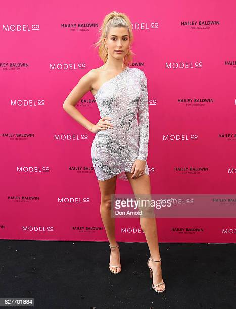 Hailey Baldwin arrives ahead of the Hailey Baldwin for ModelCo limited edition cosmetic collection launch on December 5 2016 in Sydney Australia