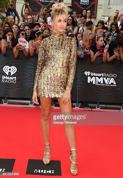 Hailey Baldwin arrives at the 2016 iHeartRADIO MuchMusic Video Awards at MuchMusic HQ on June 19 2016 in Toronto Canada