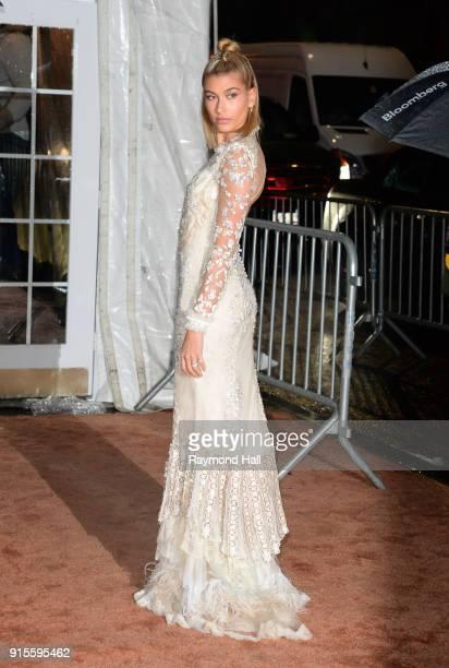 Hailey Baldwin arrives at the 2018 amfAR Gala New York at Cipriani Wall Street on February 7 2018 in New York City