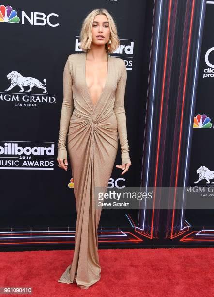Hailey Baldwin arrives at the 2018 Billboard Music Awards at MGM Grand Garden Arena on May 20 2018 in Las Vegas Nevada