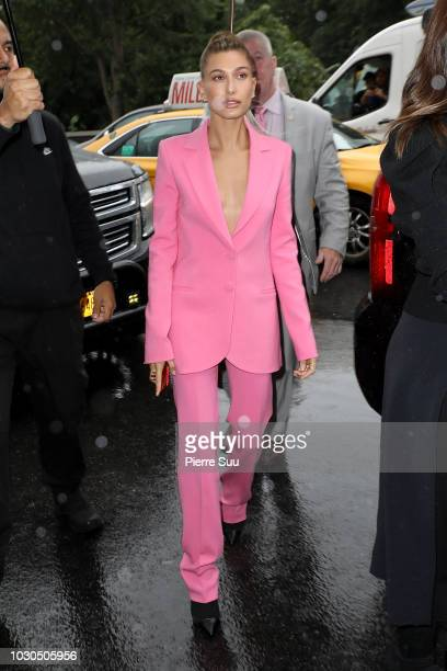Hailey Baldwin arrives at the Carolina Herrera SS19 show on September 10 2018 in New York City