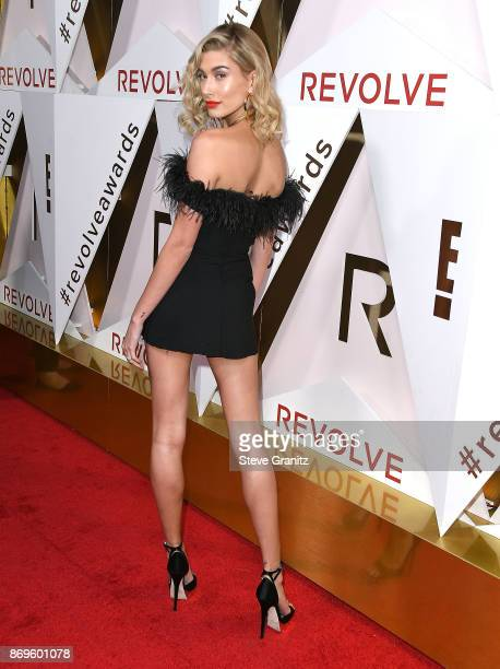 Hailey Baldwin arrives at the #REVOLVEawards at DREAM Hollywood on November 2 2017 in Hollywood California