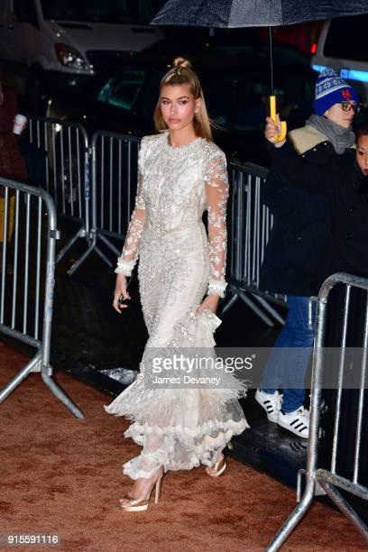 Hailey Baldwin arrives to the 2018 amfAR Gala New York at Cipriani Wall Street on February 7 2018 in New York City