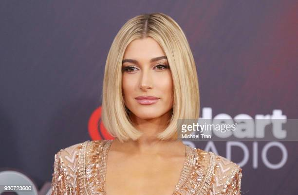 Hailey Baldwin arrives to the 2018 iHeartRadio Music Awards held at The Forum on March 11 2018 in Inglewood California