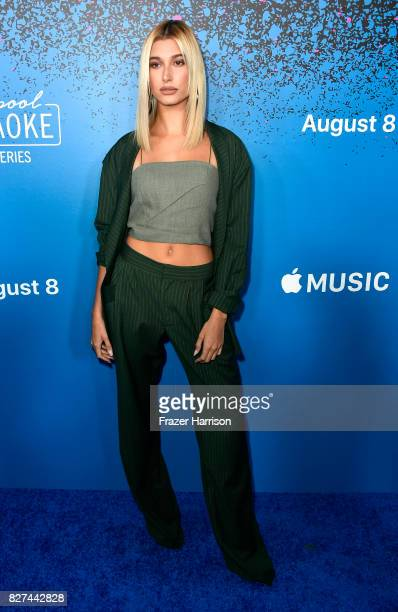 Hailey Baldwin attends 'Carpool Karaoke The Series' On Apple Music Launch Party at Chateau Marmont on August 7 2017 in Los Angeles California