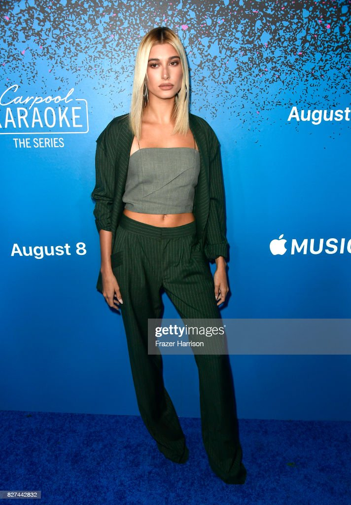 Hailey Baldwin attends 'Carpool Karaoke: The Series' On Apple Music Launch Party at Chateau Marmont on August 7, 2017 in Los Angeles, California.