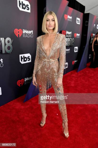 Hailey Baldwin attends the 2018 iHeartRadio Music Awards which broadcasted live on TBS, TNT, and truTV at The Forum on March 11, 2018 in Inglewood,...