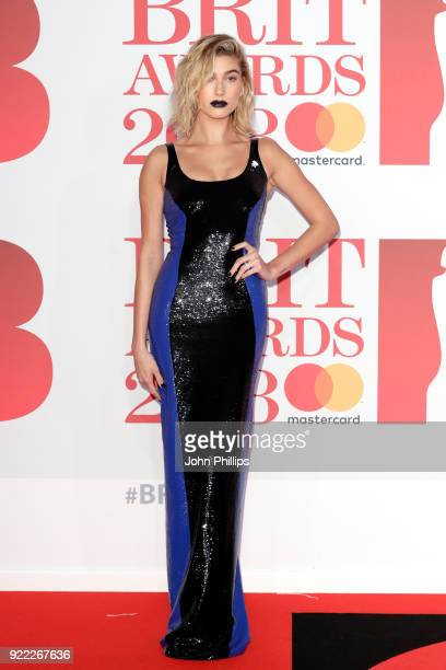 AWARDS 2018*** Hailey Baldwin attends The BRIT Awards 2018 held at The O2 Arena on February 21 2018 in London England