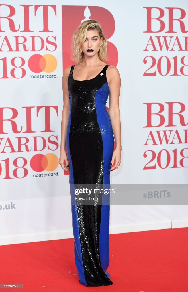 Hailey Baldwin attends The BRIT Awards 2018 held at The O2 Arena on February 21, 2018 in London, England.