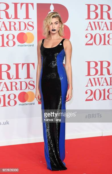 AWARDS 2018 *** Hailey Baldwin attends The BRIT Awards 2018 held at The O2 Arena on February 21 2018 in London England