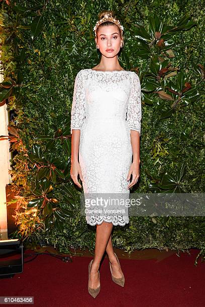 Hailey Baldwin attends the DolceGabbana Boutique Opening Event during Milan Fashion Week Spring/Summer 2017 on September 25 2016 in Milan Italy