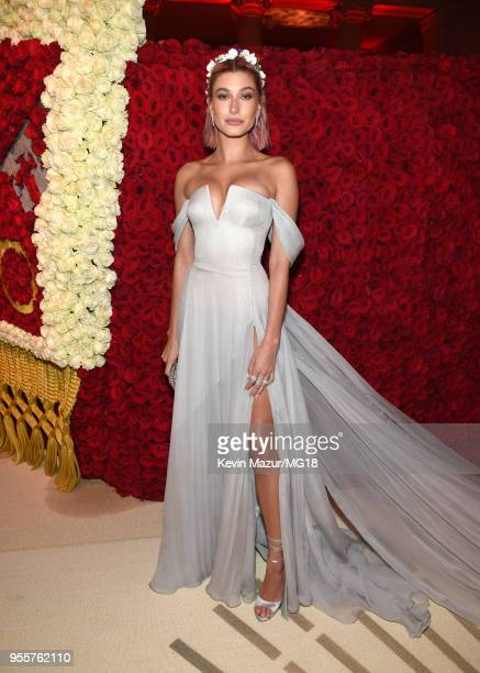 Hailey Baldwin attends the Heavenly Bodies Fashion The Catholic Imagination Costume Institute Gala at The Metropolitan Museum of Art on May 7 2018 in...