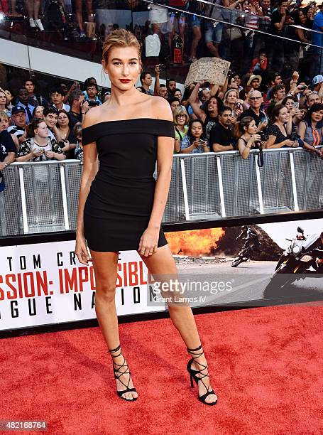 Hailey Baldwin attends the 'Mission Impossible Rogue Nation' New York Premiere at Duffy Square in Times Square on July 27 2015 in New York City