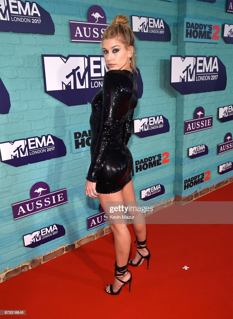 Hailey Baldwin attends the MTV EMAs 2017 held at The SSE Arena, Wembley on November 12, 2017 in London, England.