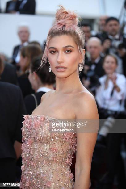 """Hailey Baldwin attends the screening of """"Girls Of The Sun """" during the 71st annual Cannes Film Festival at Palais des Festivals on May 12, 2018 in..."""