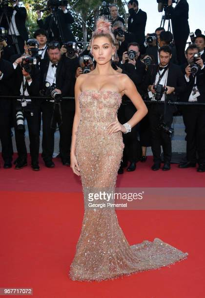 Hailey Baldwin attends the screening of 'Girls Of The Sun ' during the 71st annual Cannes Film Festival at Palais des Festivals on May 12 2018 in...
