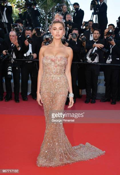Hailey Baldwin attends the screening of 'Girls Of The Sun ' during the 71st annual Cannes Film Festival at Palais des Festivals on May 12, 2018 in...
