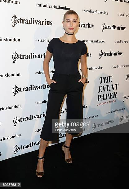 Hailey Baldwin attends the Stradivarius The Event Paper exclusive cocktail party hosted by model Hailey Baldwin at their flagship store on Oxford...