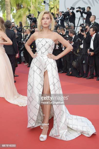 "Hailey Baldwin attends the ""The Beguiled"" screening during the 70th annual Cannes Film Festival at Palais des Festivals on May 24, 2017 in Cannes,..."