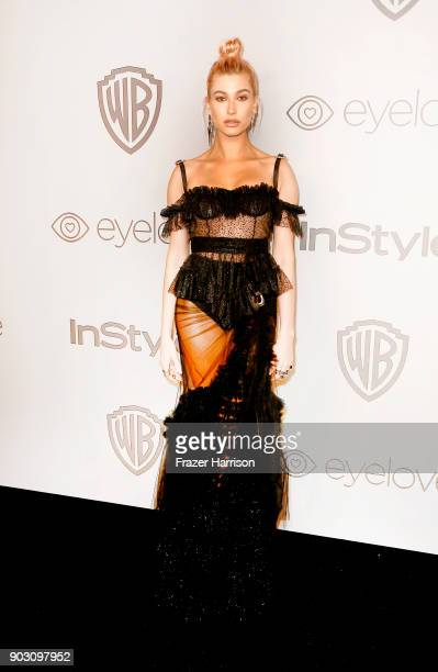 Hailey Baldwin attends Warner Bros Pictures And InStyle Host 19th Annual PostGolden Globes Party at The Beverly Hilton Hotel on January 7 2018 in...