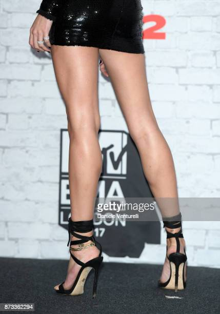 Hailey Baldwin fashion detail in the Winners Room during the MTV EMAs 2017 held at The SSE Arena Wembley on November 12 2017 in London England