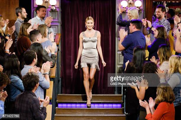 Hailey Baldwin greets the audience during The Late Late Show with James Corden Monday November 6 2017 On The CBS Television Network