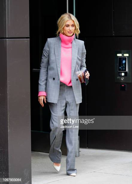 Hailey Baldwin heads to Zadig + Voltaire on February 11, 2019 in New York City.