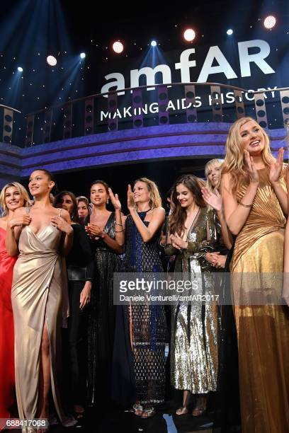 Hailey Baldwin Irina Shayk Natasha Poly Barbara Palvin and Elsa Hosk are seen on stage at the amfAR Gala Cannes 2017 at Hotel du CapEdenRoc on May 25...