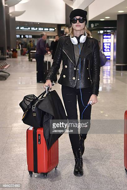Hailey Baldwin is seen arriving at Malpensa Airport on October 24 2015 in Varese Italy