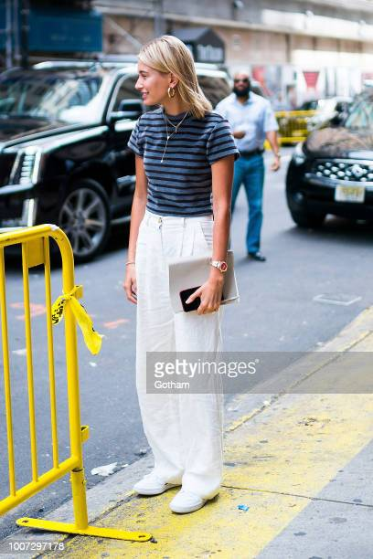 Hailey Baldwin is seen arriving at the Hillsong Church in Midtown on July 29 2018 in New York City