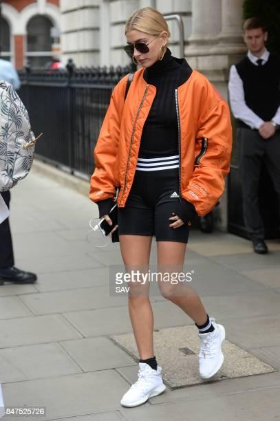 Hailey Baldwin is seen during London Fashion Week September 2017 on September 15 2017 in London England