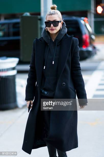 Hailey Baldwin is seen in NoHo on January 25 2018 in New York City