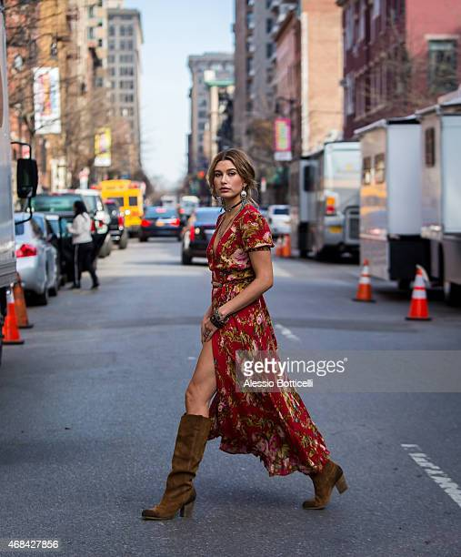 Hailey Baldwin is seen in West Village during photo shoot for Denim Supply Co on April 2 2015 in New York City