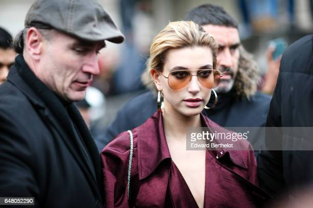 Hailey Baldwin is seen outside the Elie Saab show during Paris Fashion Week Womenswear Fall/Winter 2017/2018 on March 4 2017 in Paris France
