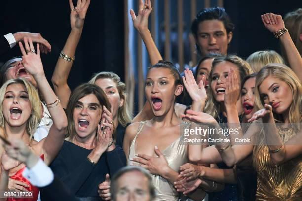 Hailey Baldwin Jordan Barrett Carine Roitfeld Hana Jirickova Bella Hadid Natasha Poly and Elsa Hosk are seen on stage during the amfAR Gala Cannes...