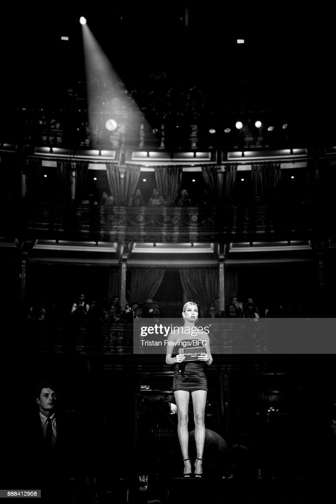 Hailey Baldwin on stage during The Fashion Awards 2017 in partnership with Swarovski at Royal Albert Hall on December 4, 2017 in London, England.
