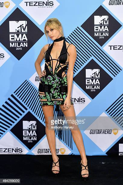 Hailey Baldwin poses in the Winners Room after presenting an award at the MTV EMA's 2015 at the Mediolanum Forum on October 25 2015 in Milan Italy