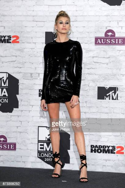 Hailey Baldwin poses in the winner's room during the MTV EMAs 2017 held at The SSE Arena Wembley on November 12 2017 in London England