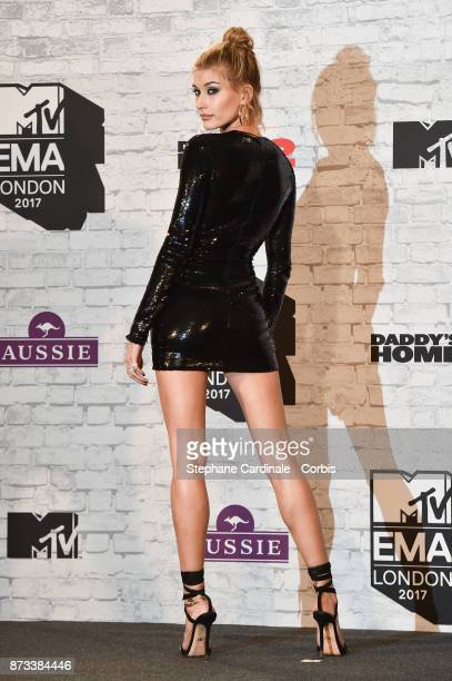 Hailey Baldwin poses in the Winners Room during the MTV EMAs 2017 held at The SSE Arena Wembley on November 12 2017 in London England