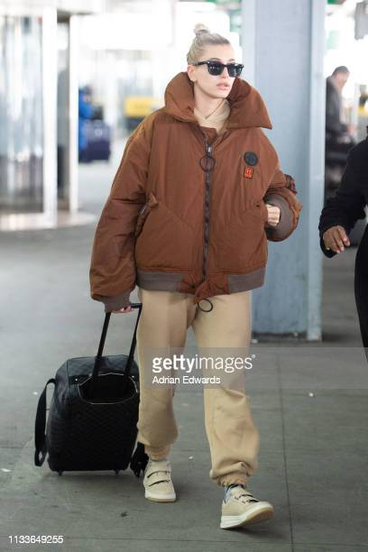 Hailey Baldwin seen at JFK airport on March 4 2019 in New York City