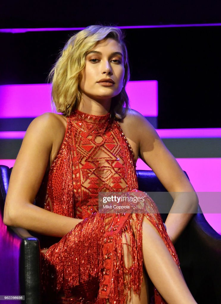 Hailey Baldwin speaks onstage at the screening of 'The American Meme' during the 2018 Tribeca Film Festival at Spring Studios on April 27, 2018 in New York City.