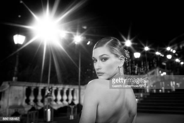 Hailey Baldwin walks the red carpet during The Fashion Awards 2017 in partnership with Swarovski at Royal Albert Hall on December 4 2017 in London...