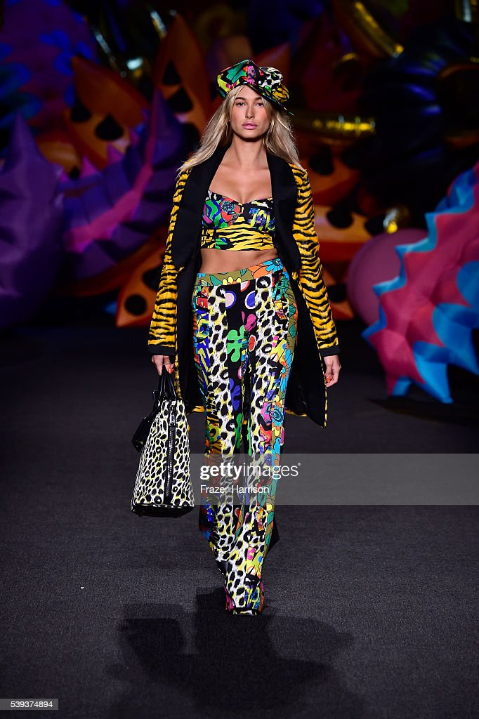 Hailey Baldwin walks the runway at the Moschino Spring/Summer 17 Menswear and Women's Resort Collection during MADE LA at L.A. LIVE Event Deck on June 10, 2016 in Los Angeles, California.