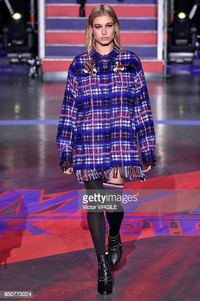 Hailey Baldwin walks the runway at the Tommy Hilfiger Ready to Wear Spring/Summer 2018 fashion show during London Fashion Week September 2017 on...