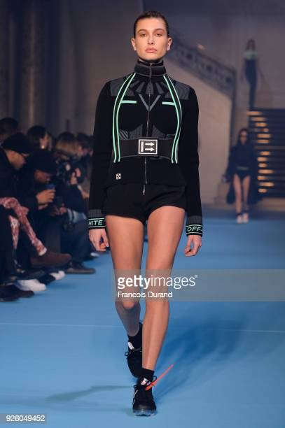 Hailey Baldwin walks the runway during the OffWhite show as part of the Paris Fashion Week Womenswear Fall/Winter 2018/2019 on March 1 2018 in Paris...